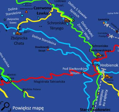 Mapa szlaku na Sławkowski Szczyt