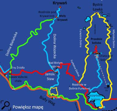Mapa szlaku na Krywań