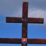 Słowacki krzyż na szczycie.